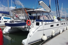 Davit fitting for an Antares catamaran in Opua NZ