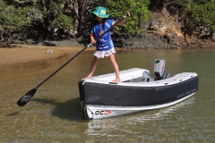 Made to play: Fun in the shallows. Ms 7y.o enjoys taking the tender for a paddle.